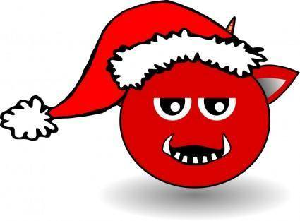 free vector Little Red Devil Head Cartoon with Santa Claus hat