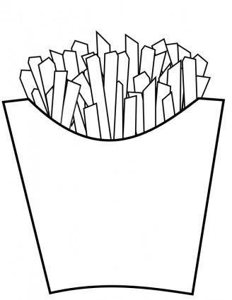 free vector French fries Line Art