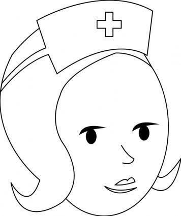 free vector Nurse Line Art