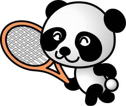 free vector Tennis panda