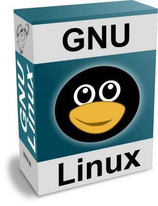 free vector Software Carton Box with GNU - Linux Text and Funny Tux Face