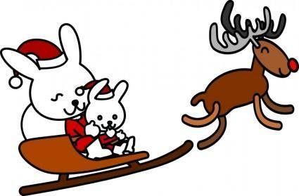 free vector Santa rabbit