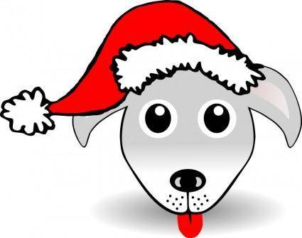 free vector Funny Dog Face Grey Cartoon with Santa Claus hat