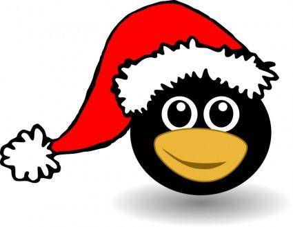 Funny tux face with Santa Claus hat