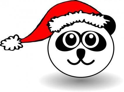 free vector Funny panda face black and white with Santa Claus hat