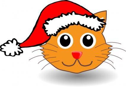 free vector Funny kitty face with Santa Claus hat
