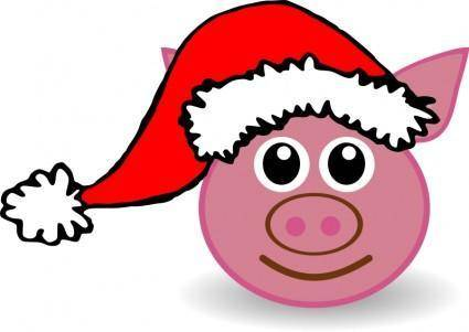 Funny piggy face with Santa Claus hat