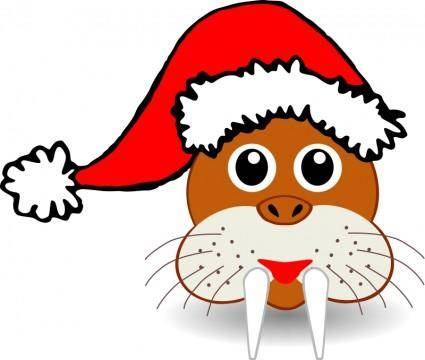 free vector Funny walrus face with Santa Claus hat