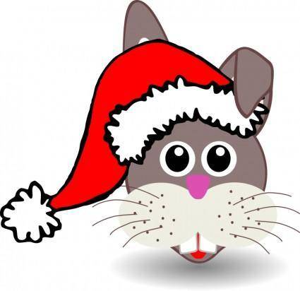 free vector Funny bunny face with Santa Claus hat