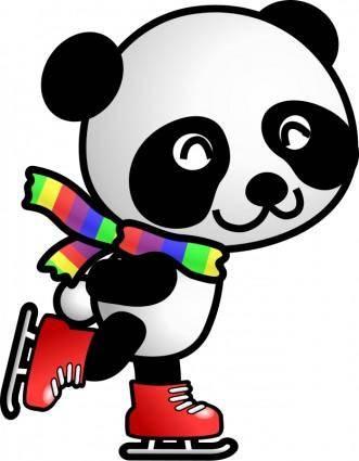free vector Skating panda