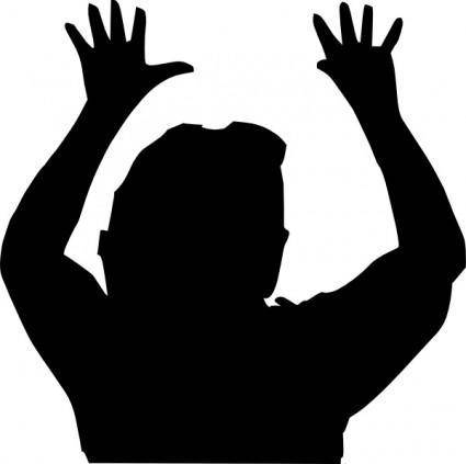 free vector Raising Hands Silhouette clip art