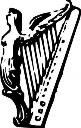 Angel Harp Lineart clip art