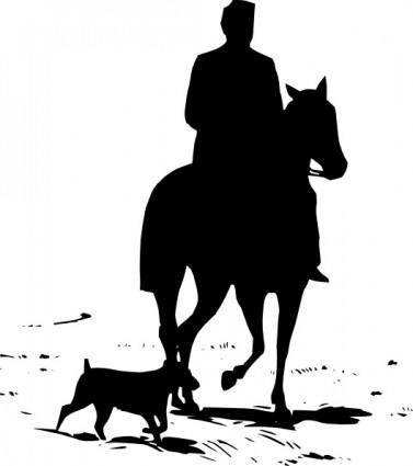 free vector Riding Horse Silhouette clip art