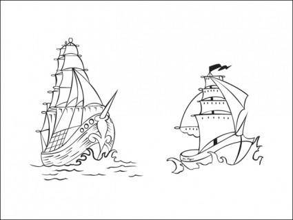 free vector Vector Pirate Ships