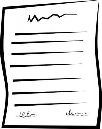 Signed Document Contract clip art