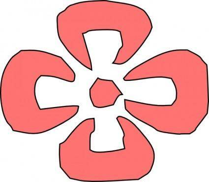 Japanese Decorative Red Flower clip art