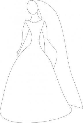 free vector Bride In Wedding Dress clip art