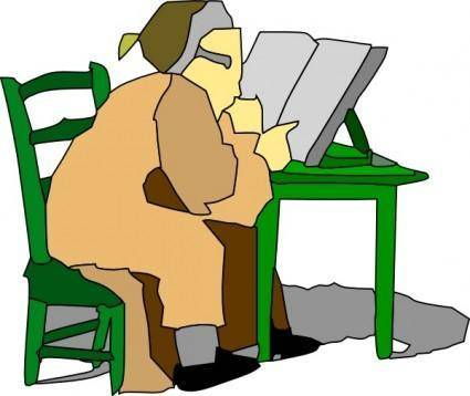 Man Sitting Reading Book clip art