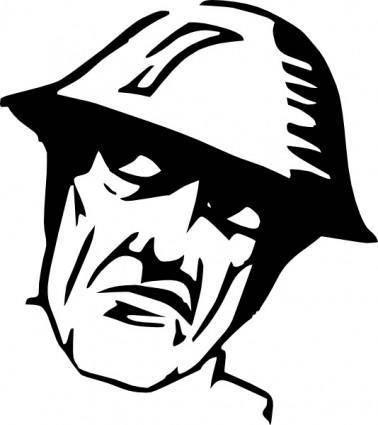 free vector Man Wearing Helmet Silhuoette clip art
