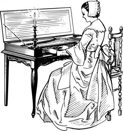 Woman Playing A Clavichord clip art