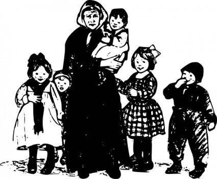 Granny With Children clip art