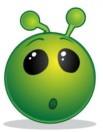 Smiley Green Alien Wow clip art