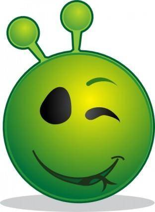 Smiley Green Alien Wink clip art