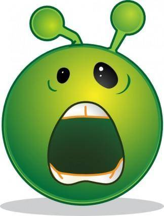 Smiley Green Alien Whaaa clip art