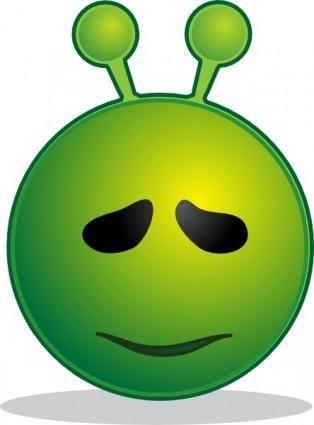 free vector Smiley Green Alien Sorry clip art