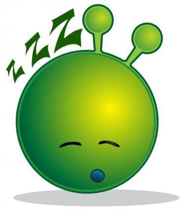 Smiley Green Alien Sleepy clip art