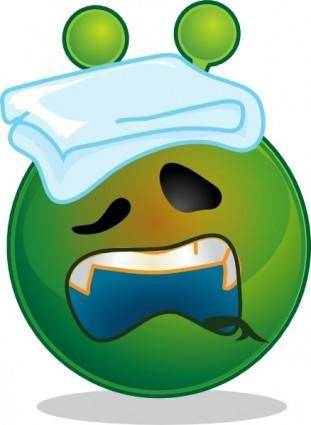 free vector Smiley Green Alien Sick clip art