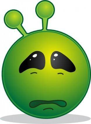 free vector Smiley Green Alien Sad clip art