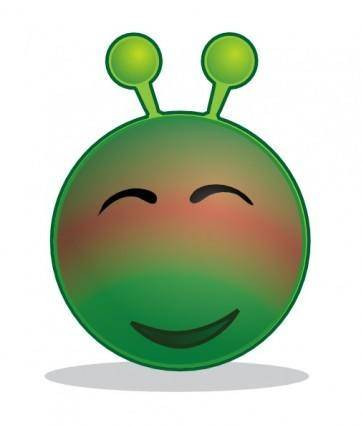 Smiley Green Alien Red clip art