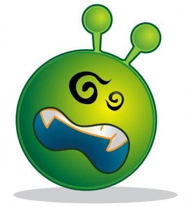 free vector Smiley Green Alien Ko clip art