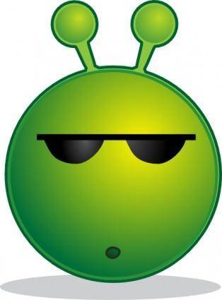 Smiley Green Alien Huh clip art