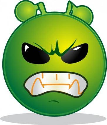 Smiley Green Alien Grrr clip art