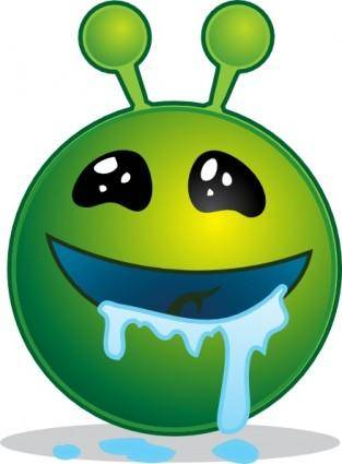 Smiley Green Alien Droling clip art