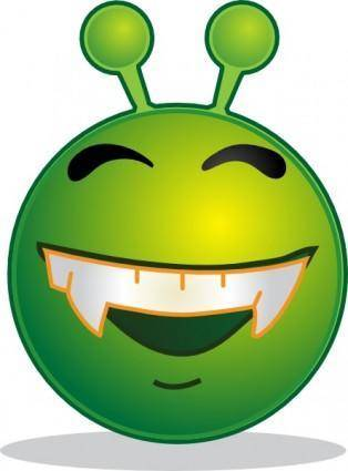 Smiley Green Alien Doof clip art
