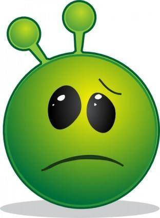 Smiley Green Alien Disapointed clip art