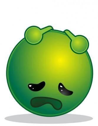 free vector Smiley Green Alien Depresive clip art