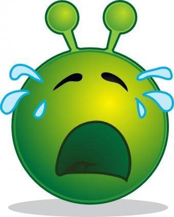 Smiley Green Alien Cry clip art