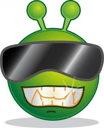free vector Smiley Green Alien Cool clip art