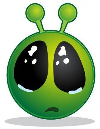 Smiley Green Alien Big Eyes clip art
