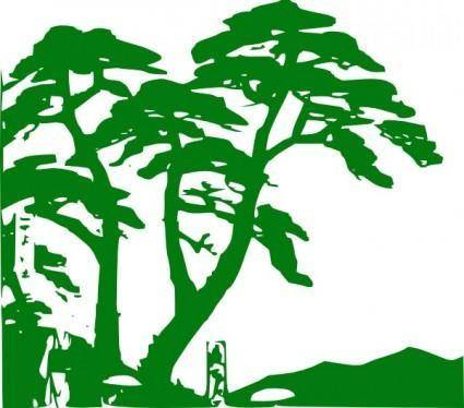 Green Trees Silhouette clip art