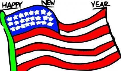 Happy New Year Us Flag clip art