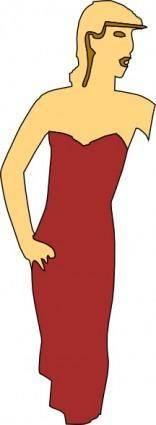 free vector Cartoon Lady Wearing Fashion Dress clip art