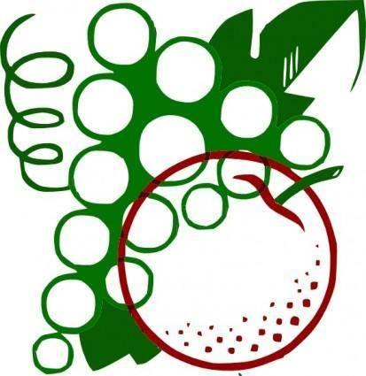 free vector Organge Grapes Cartoon clip art