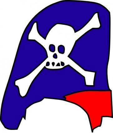 Cartoon Pirate Hat Skull Bones clip art
