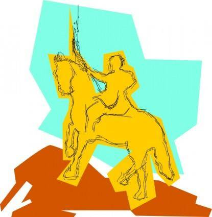 Warrior On A Horse clip art