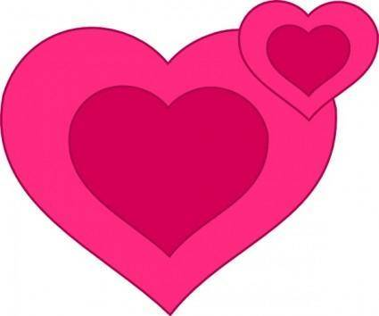 Two Pink Hearts Together clip art